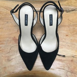 SHOEMINT BLACK SUEDE POINTY TOE SLINGBACK PUMPS